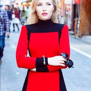 Red and Black Balmain x H&M Dress